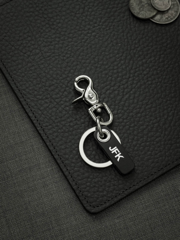 Bas and Lokes silver leather key fob