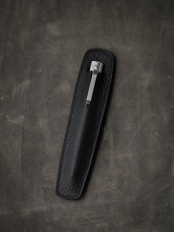 """Holmes"" Textured Black Leather Pen Sleeve"