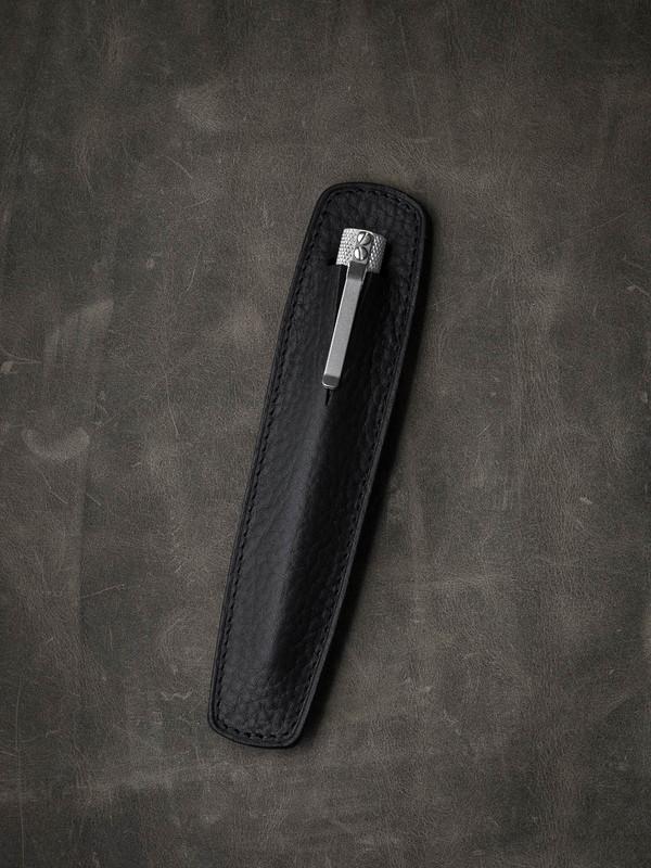 """Holmes"" Textured Black Leather Pen Sleeve"