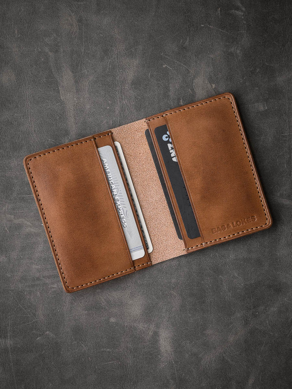 Vintage Bourbon Leather Bi-Fold Wallet