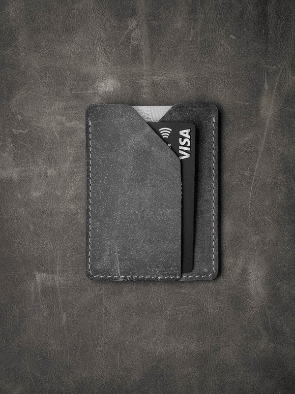 """Rex"" Grey vintage style handcrafted slim leather wallet"
