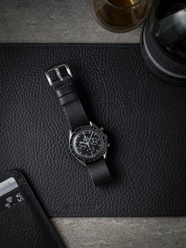 """""""Voltaire"""" Tiny Pebbled Black Leather NATO Watch Strap"""
