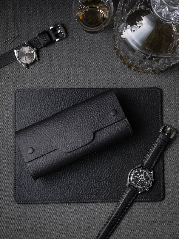 Black leather watch roll