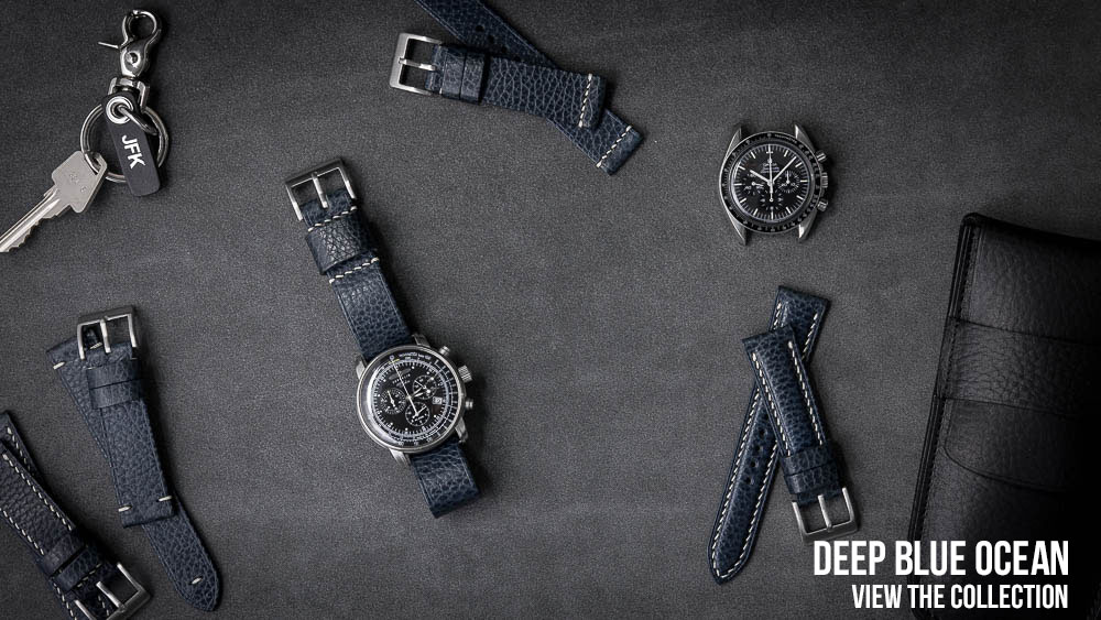 Deep Blue Leather Watch Strap Collection