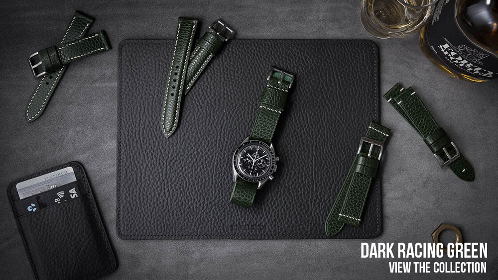 Racing Green Leather Watch Straps
