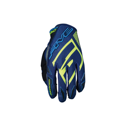 Five MXF Pro Riders Adult Gloves Green Water/Fluo Yellow
