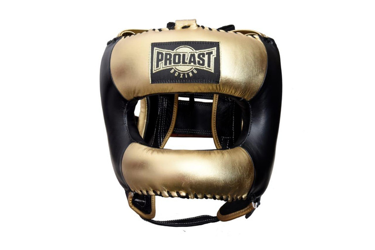PROLAST Face Saver Leather Boxing Headgear with Nylon Face Bar - Gold/ Black Color