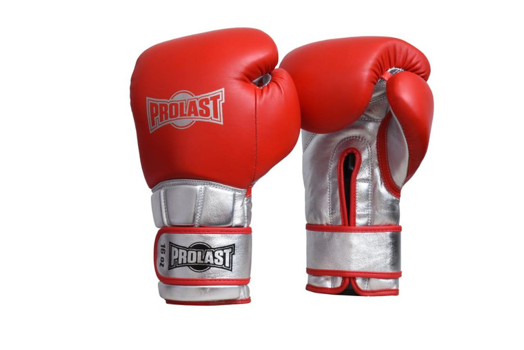 PROLAST® Boxing Luxury Professional Velcro Training Gloves - Red/Silver
