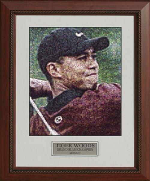 "Tiger Woods Grand Slam Champion Photo Mosaic - 22"" x 25"" Framed Artwork"