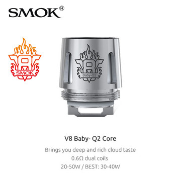 5 Pack - SMOK V8 Baby Q2 0.4 Ohm dual coil atomisers