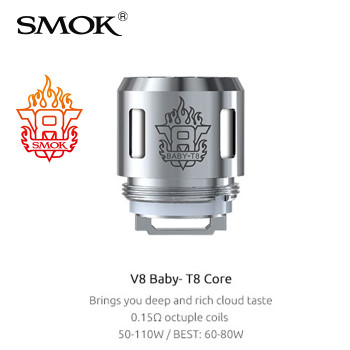 5 Pack - SMOK V8 Baby T8 0.15 Ohm Octuple coil atomisers