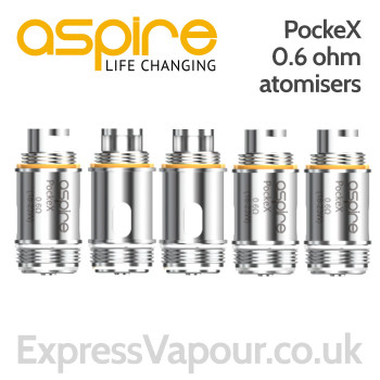 5 pack - Aspire PockeX 0.6 Ohm Atomisers