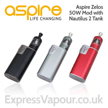 e-cig kit - Aspire ZELOS 50w battery with Nautilus 2 Tank