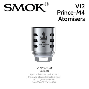 3 pack - SMOK V12 Prince-M4 0.17ohm quad core atomisers