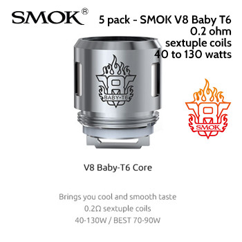 5 pack - SMOK V8 Baby T6 sextuple coil atomisers - 0.2ohm