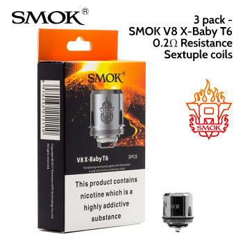 3 pack - SMOK V8 X-Baby T6 Sextuple coils 0.2 ohm. 40 to 130 watts. Japanese organic cotton wick. Fits the Smok X-Baby vape tank.