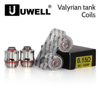 2 Pack - UWELL Valyrian Coils. 0.15 ohm, A1 Kanthal Quad Coil, 95 to 120 watts.