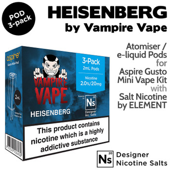 3 pack of pods - Heisenberg - Vampire Vape and Element for Aspire Gusto Mini - 2ml and 20mg