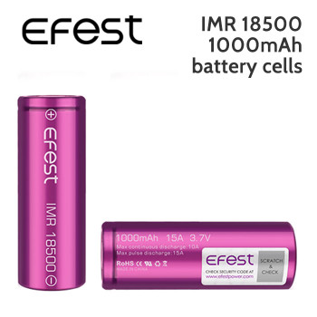 2 pack – Efest IMR 18500 rechargeable 1000mAh battery cells