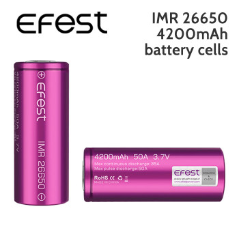 2 pack – Efest IMR 26650 rechargeable 4200mAh battery cells