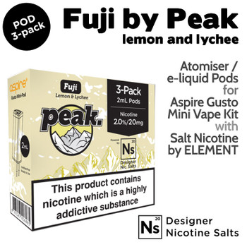 3 pack of Pods – Fuji by Peak and Element NicSalt for Aspire Gusto Mini