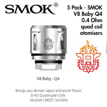5 Pack - SMOK V8 Baby Q4 0.4 Ohm quad coil atomisers