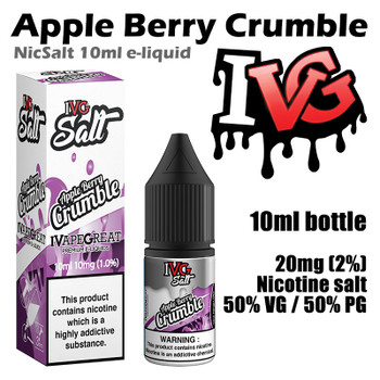Apple Berry Crumble – I VG Salt Nic e-liquids – 50% VG – 10ml - 20mg nicotine