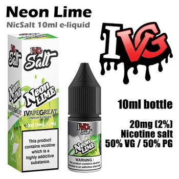 Neon Lime – I VG Salt Nic e-liquids – 50% VG – 10ml - 20mg nicotine