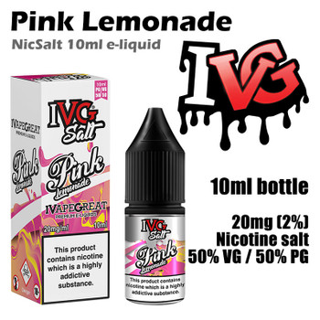 Pink Lemonade – I VG Salt Nic e-liquids – 50% VG – 10ml - 20mg nicotine