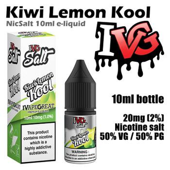 Kiwi Lemon Kool – I VG Salt Nic e-liquids – 50% VG – 10ml - 20mg nicotine