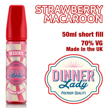 Strawberry Macaroon e-liquid by Dinner Lady – 70% VG – 50ml