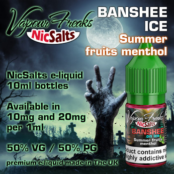 Banshee Ice - Summer fruits menthol - Vapour Freaks NicSalts e-liquids - 10ml