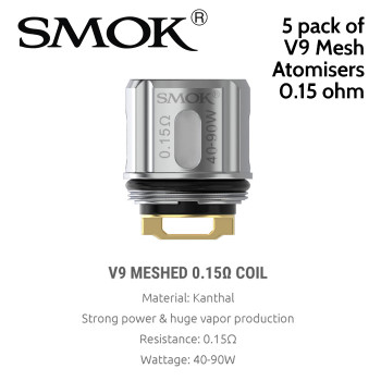5 pack of SMOK V9 Mesh 0.15ohm atomisers to fit the SMOK TFV9 tank