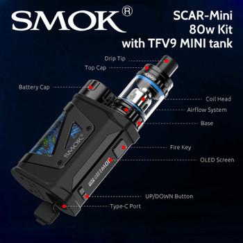 SMOK SCAR-Mini 80w Kit with TFV9 MINI tank