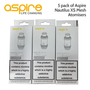 5 pack of Aspire Nautilus XS Mesh Atomisers