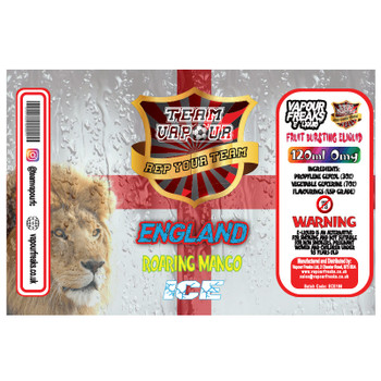 England Roaring Mango Ice – Team Vapour e-liquid – 70% VG – 100ml