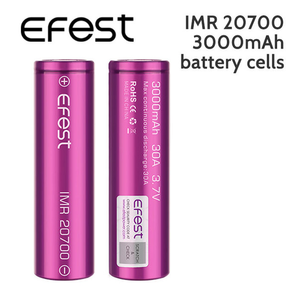 2 pack - Efest IMR 20700 Rechargeable 3000mAh batteries