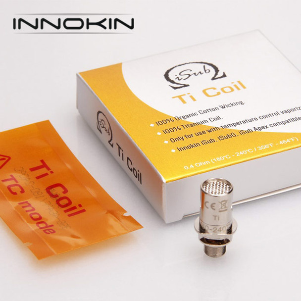 5 Pack - INNOKIN iSub Titanium 0.4ohm TC Atomisers