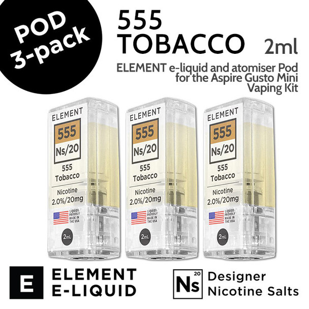 3 pack - 555 Tobacco - Element Pod for Aspire Gusto Mini - 2ml and 20mg