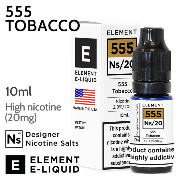 555 Tobacco - ELEMENT NicSalt high nicotine e-liquid - 10ml