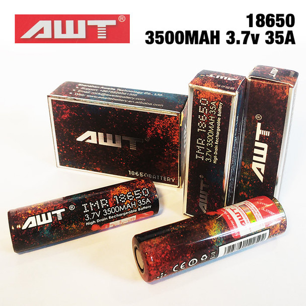 Two pack of AWT IMR 18650 Rechargeable Lithium Ion high-drain 3500mAh mod batteries.