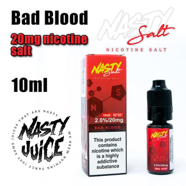 Bad Blood – Nasty Salt e-liquid – 10ml - 20mg nicotine salt