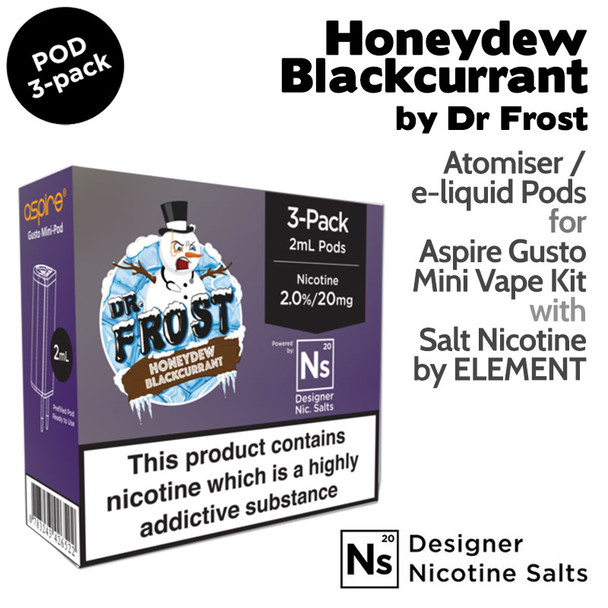 3 pack of Pods – Honeydew Blackcurrant by Dr Frost and Element NicSalt for Aspire Gusto Mini