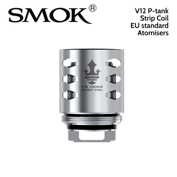 3 pack - SMOK V12 P-tank Strip coil 0.15ohm atomisers. EU edition. 40 to 100 watts. Japanese organic cotton wick.