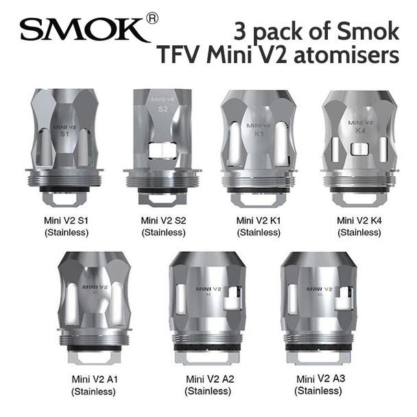 3 pack -SMOK TFV Mini V2 atomisers A1, A2, A3, S1, S2, K1, K4