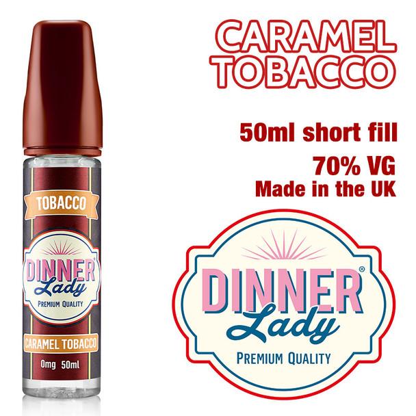Caramel Tobacco e-liquid by Dinner Lady – 70% VG – 50ml