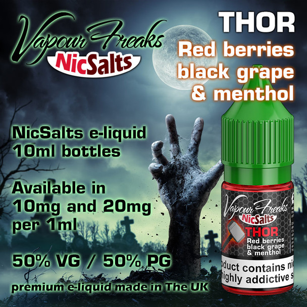 Thor - Red berries, black grape and menthol - Vapour Freaks NicSalts e-liquids - 10ml