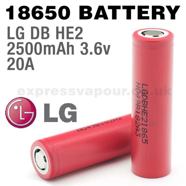2 pack - LG 18650 Rechargeable 2500mAh Batteries - LGDBHE21865