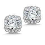 Diamond Cushion Halo Studs in14K White Gold with Platinum Post (1ct. tw.)