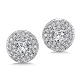 Diamond Double Round Halo Studs in14K White Gold with Platinum Post (1ct. tw.)